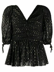 Frankie Morello glittered v-neck blouse - Black