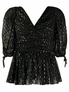 Frankie Morello glittered v-neck blouse - Black