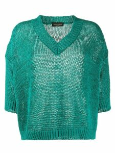 Roberto Collina oversized v-neck crochet jumper - Blue