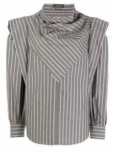 Isabel Marant striped cowl-neck draped blouse - Grey