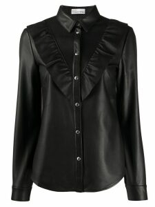 RedValentino ruffled trimming leather shirt - Black