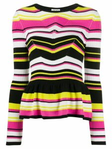 LIU JO fitted striped peplum top - Black