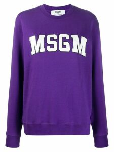 MSGM college logo print sweatshirt - PURPLE