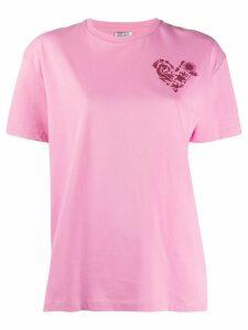 Kenzo heart crest-print boxy T-shirt - PINK
