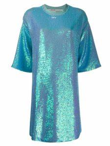 Off-White sequined short-sleeved T-shirt dress - Blue