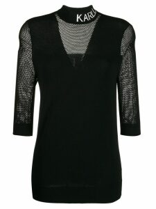 Karl Lagerfeld logo mesh shirt - Black