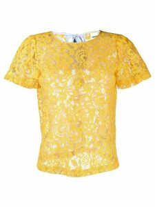 Semicouture sheer lace T-shirt - Yellow