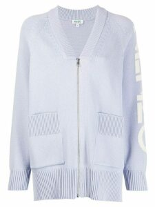 Kenzo logo intarsia zip-up cardigan - PURPLE