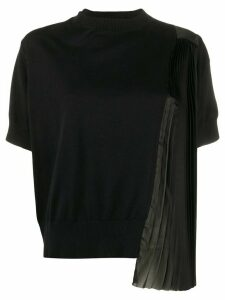 Sacai side pleated detail shortsleeved knitted top - Black