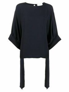 Erika Cavallini tie cuff blouse - Blue