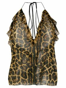 Saint Laurent leopard print studded top - Brown