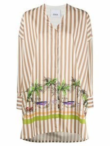 Erika Cavallini oversized striped V-neck shirt - Brown