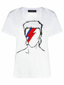 Frankie Morello Bowie print crew neck T-shirt - White