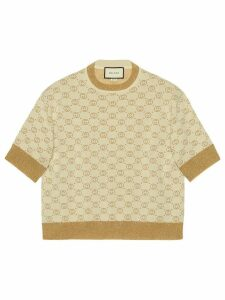 Gucci Interlocking G lamé knit top - NEUTRALS