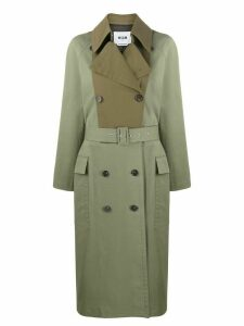 MSGM contrast-panel trench coat - Green