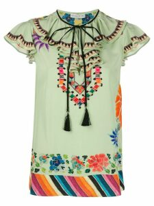 Etro bohemian-print tied-neck blouse - Green