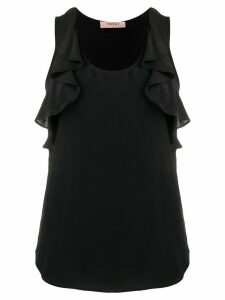 Twin-Set ruffle detail curved hem top - Black