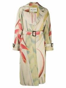 Etro foliage printed belted coat - NEUTRALS