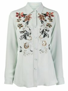 Etro embroidered floral shirt - Blue