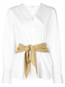 Tibi collarless belted shirt - White