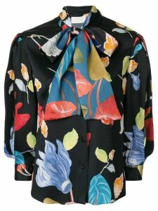 Peter Pilotto floral pussybow blouse - Blue