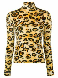 Richard Quinn turtle neck leopard printed top - Black