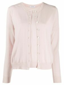 P.A.R.O.S.H. button-up crew neck cardigan set - PINK
