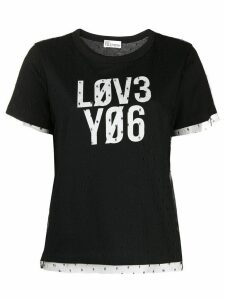 RedValentino Love You point d'esprit T-shirt - Black