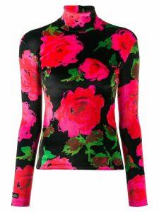 Richard Quinn turtle neck floral pattern top - Black
