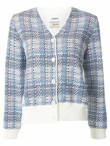 Coohem madras tech tweed cardigan - White