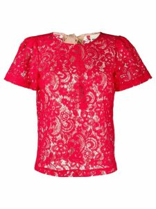 Semicouture sheer lace T-shirt - Red