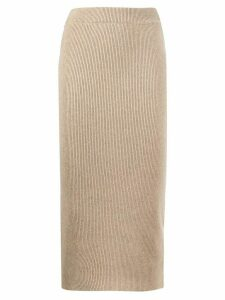 ANINE BING ribbed knit pencil skirt - NEUTRALS