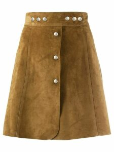 Prada press stud detail A-line skirt - Brown