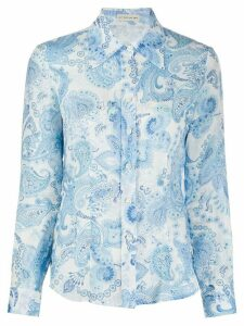 Etro paisley-print oversized-collar shirt - Blue