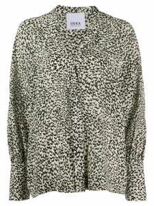 Erika Cavallini V-neck abstract print silk blouse - NEUTRALS