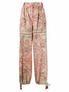 Etro paisley-print drawstring-hem trousers - ORANGE