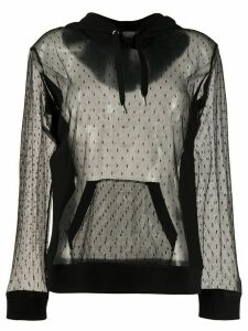 Red Valentino polka dot mesh hoodie - Black