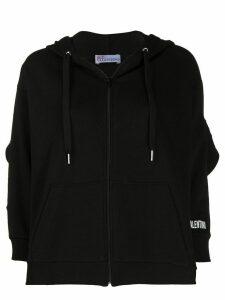 RedValentino mesh ruffle hoodie - Black