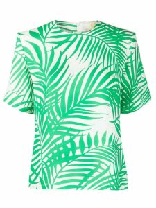 Sara Battaglia palm leaf printed crepe blouse - Green