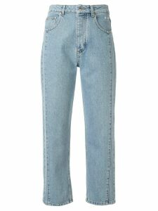 MSGM contrast stitching cropped jeans - Blue