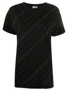 LIU JO short sleeve diagonal rhinestone T-shirt - Black