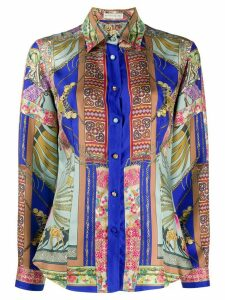 Etro long sleeve printed silk shirt - Blue