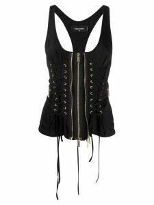 Dsquared2 zip-through laced corset top - Black