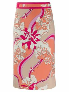 Emilio Pucci floral print pencil skirt - NEUTRALS