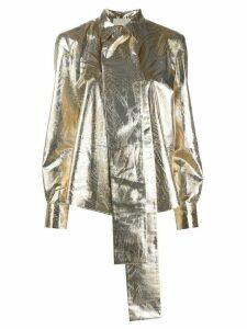 Sara Battaglia pussy-bow blouse - GOLD