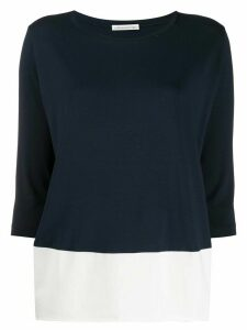 Stefano Mortari two-tone three-quarter sleeve top - Blue