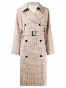 Nina Ricci checked double breasted coat - NEUTRALS