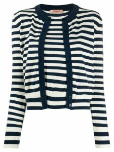 Twin-Set layered style striped cardigan - White