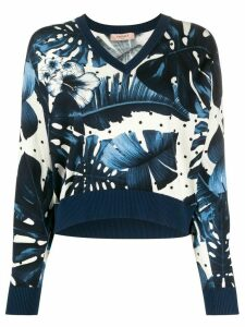 Twin-Set studded sleeve floral print jumper - Blue