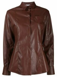 MSGM leather-effect button-up shirt - Brown